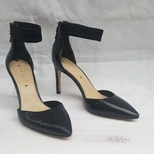 Via Spiga Leather Pointed Toe Ankle Strap Heels